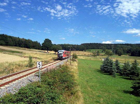 Regionalbahn nach Bad Schandau bei Krumhermsdorf, Sommer 2006
