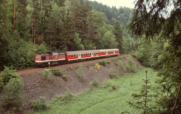 Zug von Ulbersdorf kommend nach Bad Schandau bei Mittelndorf, 07.06.2001. Foto: Archiv Axel Förster.