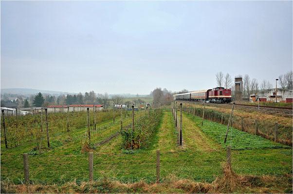 Nachdem in Neustadt die Fahrtrichtung geändert wurde ging es weiter nach Pirna, hier beim Obstbau Menzel in Stolpen. Ein großer Dank geht an die OSEF, eine leider traurige Entwicklung, dass ihr Sonderzug der einzige im Jahr 2014 blieb... 30.11.14