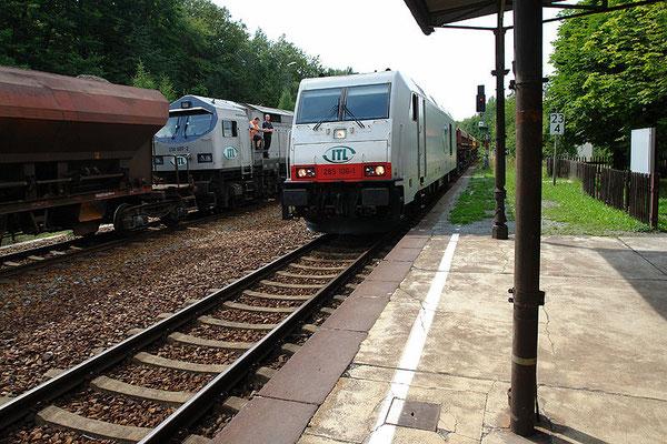 Strecke Bautzen-Neustadt: Güterzugbegegnung mit Lok 250 007 , 285 106 und 285 103 (nicht im Bild) am 4. August 2010 im Bahnhof Neukirch (Lausitz) West. Foto: Thomas Lange