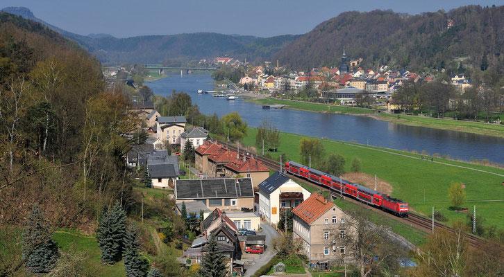 Gefolgt von der S1 Meißen-Schöna, April 2010.