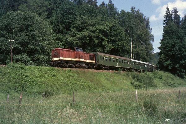 In der Gegenrichtung ist 112 498 mit ihrem Personenzug ( mit 1.Klasse Abteilen ) ebenfalls bei Mittelndorf unterwegs. Foto: Andreas Matschke
