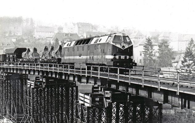 Güterzug mit BR 119 in Richtung Neustadt auf der Behelfsbrücke.