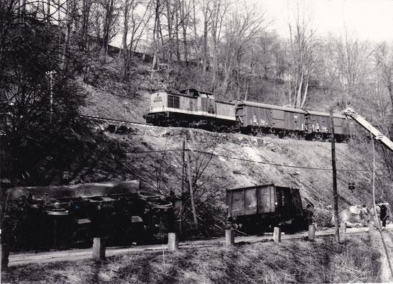 Das Gleis ist repariert, ein Güterzug mit V100 passiert die Unfallstelle in Richtung Bad Schandau. Foto: Archiv Sven Kasperzek.