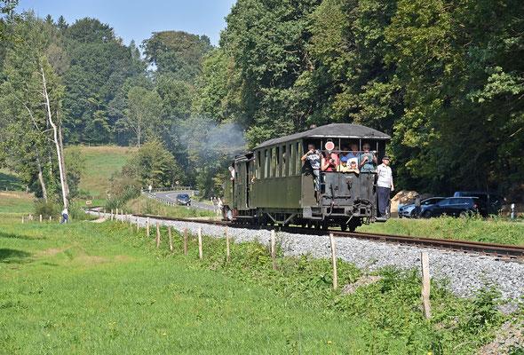 Der erste Zug auf dem neuen Streckenabschnitt. 31.08.2019