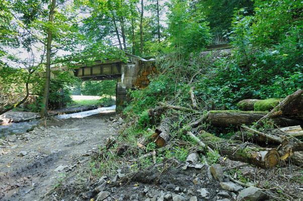 An der Stelle wo sich die ehemalige Schmalspurbahn aus Hohnstein und die Sebnitztalbahn treffen - auch hier wütete das Wasser mit großer Gewalt. 20.08.10