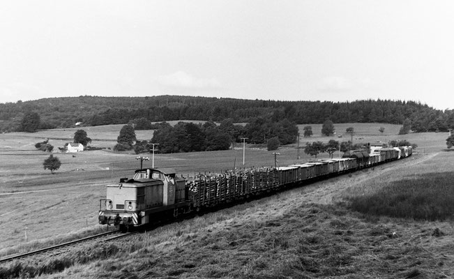 Eine V60 mit gemischtem langen Güterzug in der Steigung bei Krumhermsdorf Richtung Bad Schandau. Vermutlich unterstützt durch eine weitere V60 Schublok am Zugschluss. Dort lässt sich auch noch das Bahnwärterhaus erkennen das heute nicht mehr existiert.