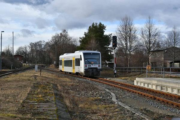 VT 020 von Neustadt nach Pirna. Ab März soll auch der Betrieb zwischen Neustadt und Sebnitz wieder aufgenommen werden. 10.02.2020, Foto: Axel Förster