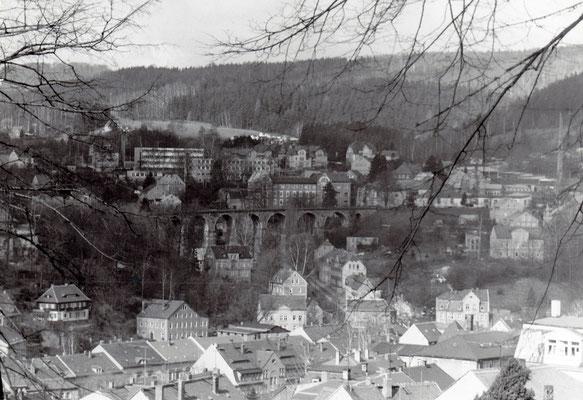 Blick zum Sebnitzer Stadtviadukt, 1984. Foto: Archiv Sven Kasperzek.