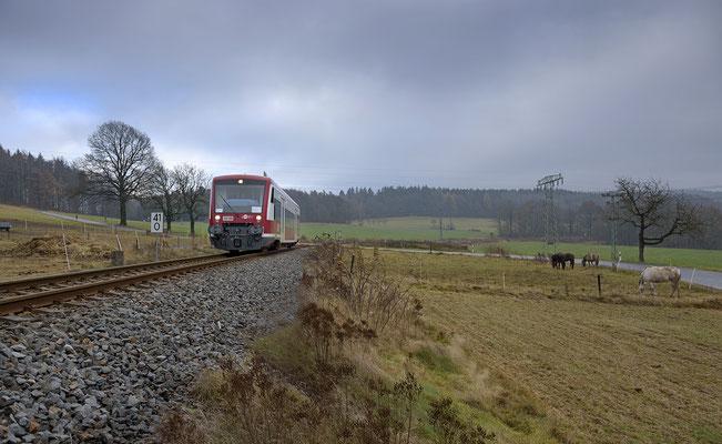 Seit Anfang November 2016 gibt es auf der Strecke Pirna-Neustadt-Sebnitz ein Gastfahrzeug. Der RS1 der Hanseatischen Eisenbahn, hier bei Krumhermsdorf nach Neustadt Ende November.