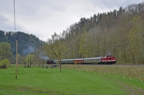 Ostersonderfahrt mit 52 8131 und 110 101-3 von Nossen nach Bad Schandau - Neustadt - Pirna und zurück. Hier der Zug mit V100 als Zuglok bei Goßdorf-Kohlmühle. 15.04.2017. Foto: Robert Schleusener
