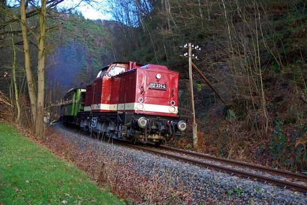 Zwischen dem HP Porschdorf und dem letzten Tunnel vor Bad Schandau legt sich der Zug in Schrittgeschwindigkeit kreischend in eine der engsten Kurven der Sebnitztalbahn, 29.11.09