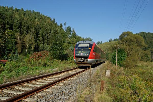 Der Desiro im Spätsommerlichen Sebnitztal, zwischen Goßdorf-Kohlmühle und Ulbersdorf, 18.09.09