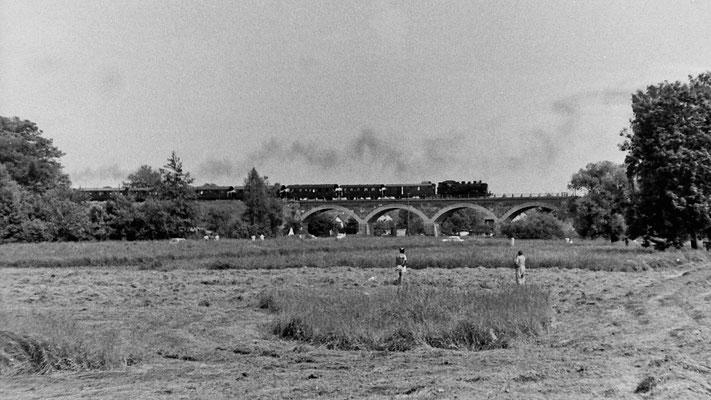 Ein Sonderzug mit BR 86 auf dem Viadukt über die Polenz bei Langburkersdorf.