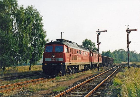 232 611 & 232...? mit Elbtal-Umleiter-Güterzug von Arnsdorf kommend in Dürrröhrsdorf.