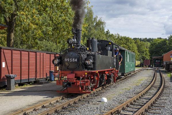 99 584 war Gastlokomotive beim Bahnhofsfest 2018. Hier in Lohsdorf am 26.08.18.