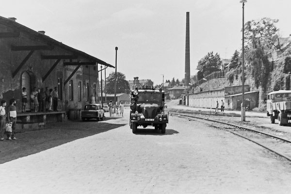Schauübung der Sebnitzer Feuerwehr auf dem Bahnhofsgelände. Simuliert wurde ein Kesselwagen / Gefahrgutbrand.