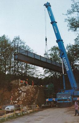 Montage eines Brückenelementes über die Schandauer Straße.