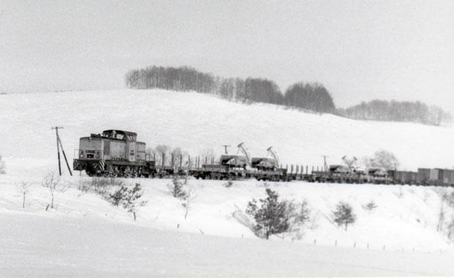 Eine V60 mit gemischtem Güterzug von Neustadt nach Pirna bei Langenwolmsdorf.