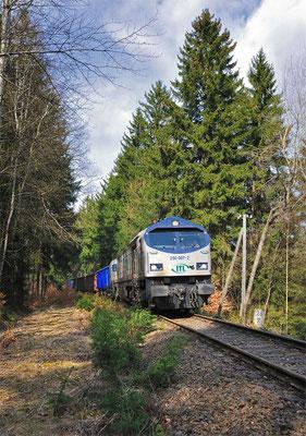 """ Blue Tiger "" 250 007 der ITL am Kilometer 26,7 auf dem Weg Richtung Neukirch / Lausitz ( West ). 01.04.2011"