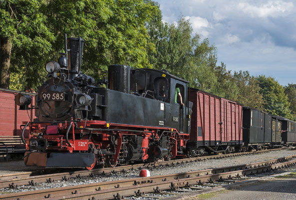 99 585 mit bunt gemischtem Zug in Lohsdorf. 04.09.2020