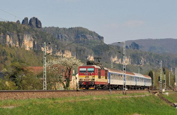 Auch die Rückleistung des Elbe-Labe-Sprinters mit 371 005 nach Bad Schandau wurde an diesem Tag erwartet. Krippen, April 2010.