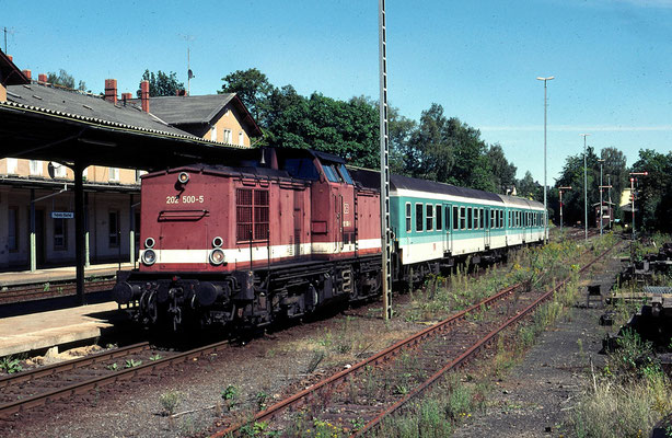 """Das letzte Jahr für """" Ferkeltaxe """" und V 100 vor dem Traktionswechsel auf die Desiros, die 202 wartet in Sebnitz auf den Gegenzug aus Bad Schandau, 27.08.2000, Foto: Stig Mohlin ( Stockholm )"""