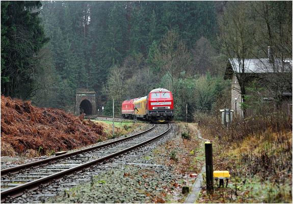 Messzug Bad Schandau-Sebnitz-Dolni Poustévna-Bad Schandau. Eine Baureihe 218 gab es auf der Sebnitztalbahn noch nie zu sehen, 218 390-3 und 229 173 befinden sich hier an der beliebten Fotostelle am Tunnelausgang bei Ulbersdorf Richtung Sebnitz. 11.12.13
