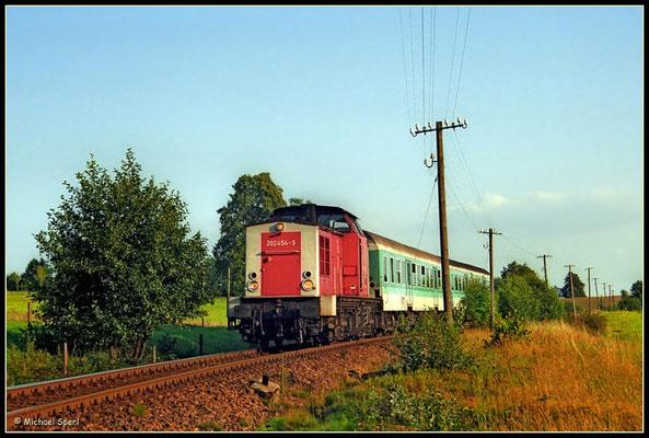 202 454 mit RegionalBahn bei Krumhermsdorf im letzten Abendlicht des 16. August 2000. Noch gibt es die klassische Telegrafenleitung... Foto: Archiv Michael Sperl