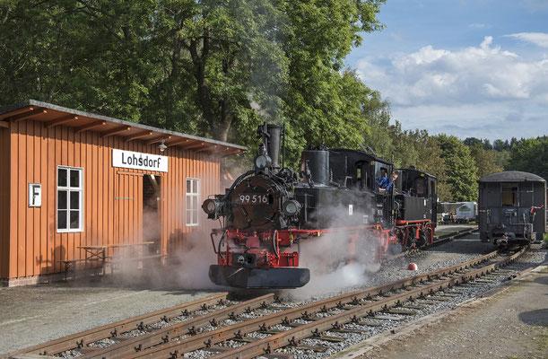 99 516 & 99 585 im Doppelpack vor der Lohsdorfer Empfangshalle. 04.09.2020