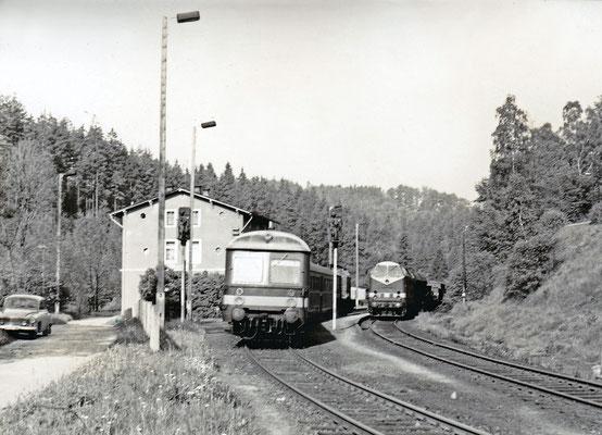 119 154 mit Güterzug nach Neustadt - Bautzen (?) in Ulbersdorf, links ein Personenzug mit Steuerwagen.