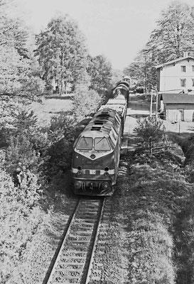 119 134 mit Güterzug von Bad Schandau nach Neustadt in Krumhermsdorf.
