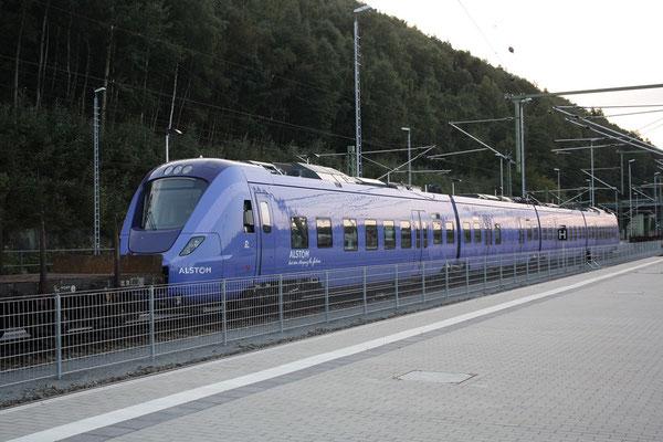 Brandneuer Dieselelektrischer Zug der Firma Alstom für das Schwedische Eisenbahnunternehmen Skânetrafiken im Bahnhof Bad Schandau, 23.09.09. Foto: Jürgen Vogel