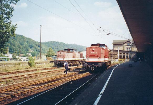 Zwei Lokomotiven der BR 202 ( ex DR V 100 ) warten in Bad Schandau auf ihren nächsten Einsatz ( 1995 )