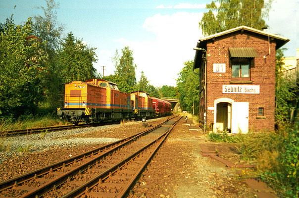 Der Betreiber OHE schickte am 11.09.2004 einen seiner Güterzüge von Dresden Neustadt nach Bad Schandau versuchsweise mal über den Sächsischen-Schweiz-Ring. Es blieb dabei. Text & Foto: Jens Gollmann