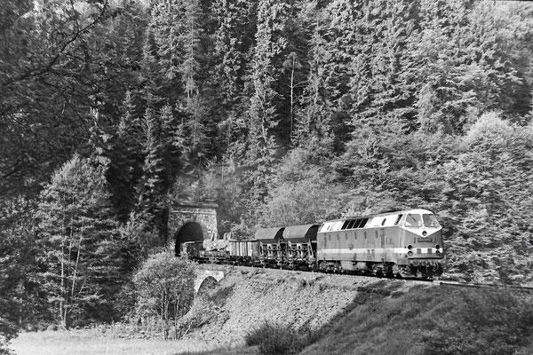 119 154 mit Güterzug nach Neustadt - Bautzen (?) bei Tunnel 3.