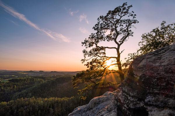 Sonnenuntergang in den Waitzdorfer Felsen. ISO 400, 16mm, f/11.0, 1/300sek.