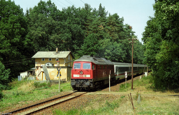 232 494 mit EC 173 bei Porschendorf. 05.08.03  Foto: Archiv Kay Baldauf.