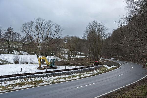 Freilegung des Bahndamms, Blickrichtung Ehrenberg. 11.02.19