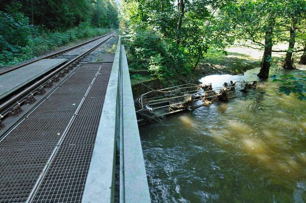 Der Wanderweg der oft entlang der Strecke führt ist an vielen Stellen nicht mehr begehbar. Diese Fußgängerbrücke wurde vom Wasser mitgerissen und völlig zerstört, 20.08.10
