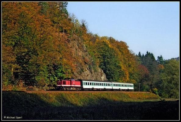 Die bis zuletzt in einem ordentlichen Lackzustand befindliche bordeauxrote 202 882 führte am 23. Oktober 2000 in Höhe der einstigen Buttermilchmühle RB17825 Richtung Bad Schandau. Foto: Archiv Michael Sperl