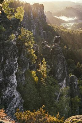 Goldener Herbst im Basteigebiet. ISO 200, 44mm, f/6.3, 1/125sek.