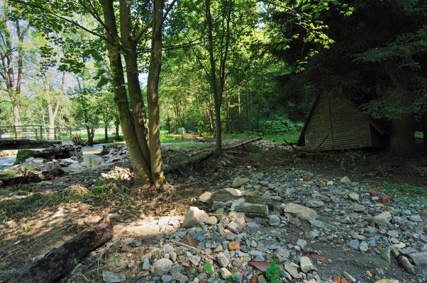 Bild der Verwüstung an der Buttermilchmühle, hier endet der Wanderweg nun zwangsläufig! 20.08.10