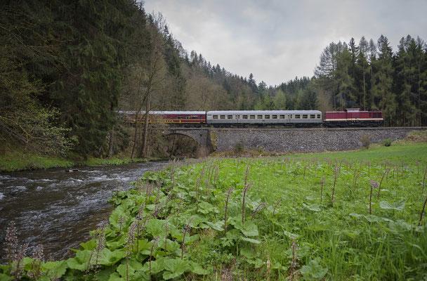 Der Zug am bekannten Motiv (Tunnel 3) bei Ulbersdorf. 15.04.2017