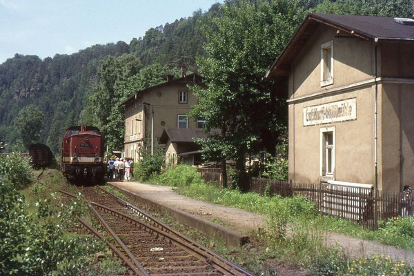 Personenzug mit 112 498 im Bahnhof Goßdorf-Kohlmühle. Von hier zweigte bis 1951 die schmalspurige Schwarzbachbahn nach Hohnstein ab, Foto: Andreas Matschke