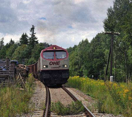 Eile ist geboten, denn in 5 min. kam schon der Desiro nach Dresden. Der OHE-Tiger auf dem Weg Richtung Steinbruch. 12.08.2011