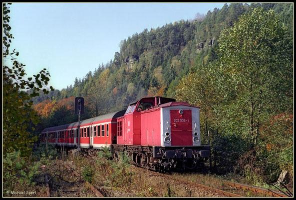 202 535, die in dieser orientroten Farbgebung von der Fa. BRAWA auch ins Modell umgesetzt wurde, erreicht mit ihrer RegionalBahn vor den Sandsteinfelsen des Sebnitztals den Bf.Goßdorf-Kohlmühle am 21.Oktober 2000. Foto: Archiv Michael Sperl