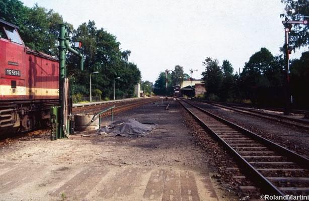 Blick vom Inselbahnsteig in Richtung Ausfahrt Neustadt mit 112 561-6, dem Wasserkran, den Ausfahrsignalen C, D und E, dem Stellwerk 1 (Stw1) und dem Anschluß zum Kohlehandel rechts neben dem Stellwerk. Mai 1990, Foto: Archiv Roland Martini