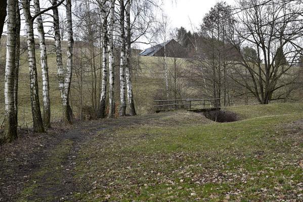 Die Bäume werden weniger. Der Bahndamm erreicht freies Gelände und eine weitere hübsche kleine Brücke. Blickrichtung Ehrenberg, 04.03.19