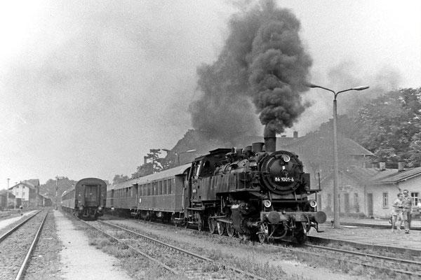 Sonderfahrt des Locomotive Club of Great Britain mit 86 1001 in Neustadt / Sachsen.
